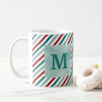 Weihnachtsgruß-grüne Monogramm-Feiertags-Tasse Kaffeetasse