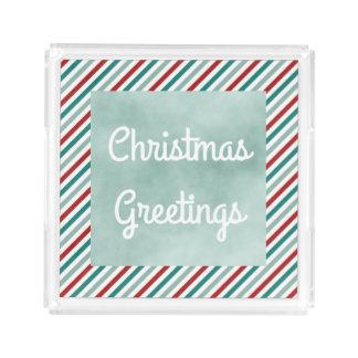 Weihnachtsgruß-grüner Feiertags-Acryl-Behälter Acryl Tablett