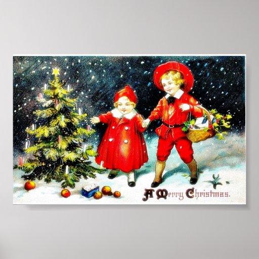 Weihnachtsgruß mit einem Jungen und einem Mädchen, Plakate