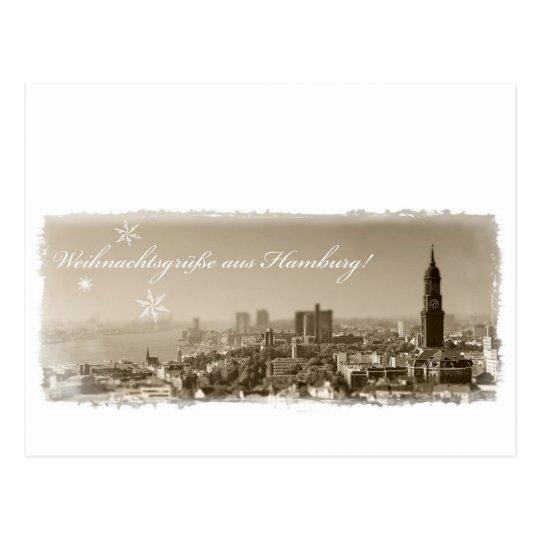 Weihnachtsgrüße aus Hamburg, Weihnachtskarte, edel Postkarte