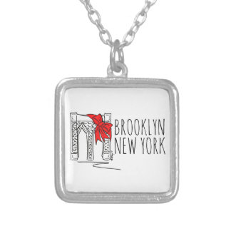 Weihnachtshalskette Brooklyn-Brücken-New York NYC Versilberte Kette