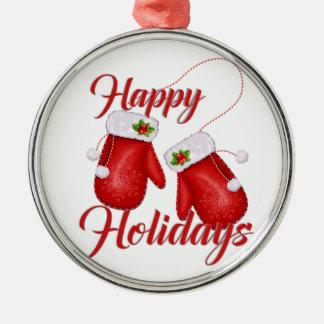 Weihnachtshandschuh-frohe Feiertage erstklassige Rundes Silberfarbenes Ornament