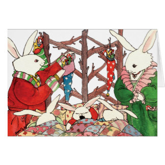 Weihnachtshäschen-Familie Grußkarte