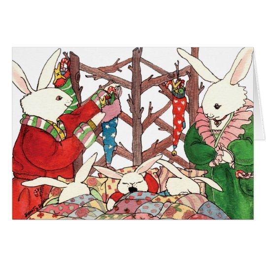 Weihnachtshäschen-Familie Karte