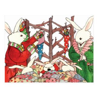 Weihnachtshäschen-Familie Postkarte