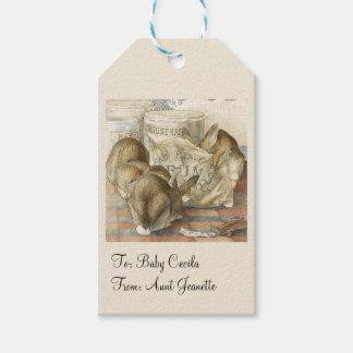 Weihnachtshäschen-Kaninchen personalisiert Geschenkanhänger