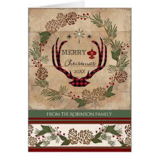 Weihnachtshäuschen-Rotwild-Geweih-hölzernes Karte
