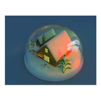 Weihnachtshausschnee-Kugel Postkarte