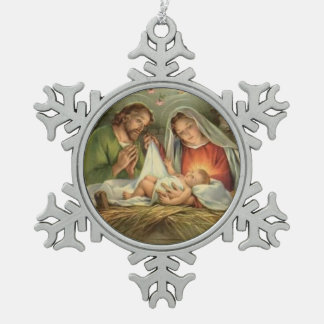 Weihnachtsheilige Familien-Geburt Christi Jesus Schneeflocken Zinn-Ornament