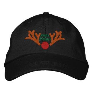 Weihnachtshelfer-rote Nasen-Ren-Stickerei Bestickte Kappe