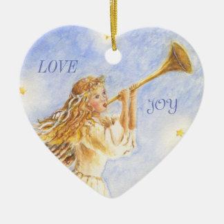 Weihnachtsherz-Verzierungs-Engels-Aquarell Keramik Ornament