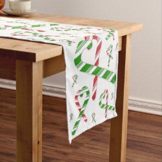 Weihnachtsherz-Zuckerstange-Tabellen-Läufer Kurzer Tischläufer