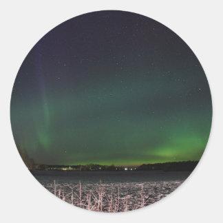 Weihnachtshimmel-Nordlichter Runder Aufkleber