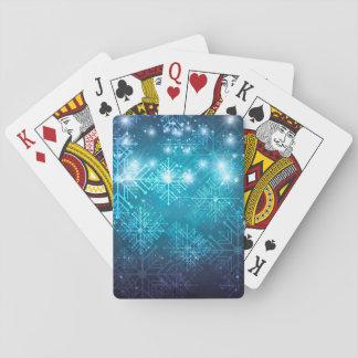 Weihnachtshintergrund mit Schneeflocke-Spielkarten Spielkarten
