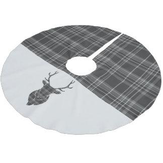 Weihnachtshirsch-Kopf-GrauTartan Polyester Weihnachtsbaumdecke
