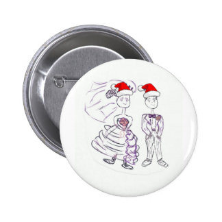 Weihnachtshochzeits-Braut und Bräutigam Runder Button 5,1 Cm