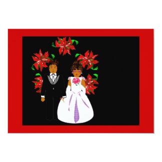 Weihnachtshochzeits-Paar-Kranz im roten Gold Personalisierte Ankündigungskarten
