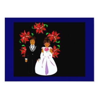 Weihnachtshochzeits-Paare mit Kranz-blauem 12,7 X 17,8 Cm Einladungskarte