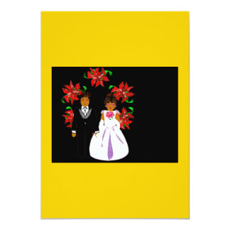 Weihnachtshochzeits-Paare mit Kranz im Gold Ankündigungskarte