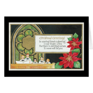 Weihnachtsjugend-Chor, Kirche, Poinsettia Karte