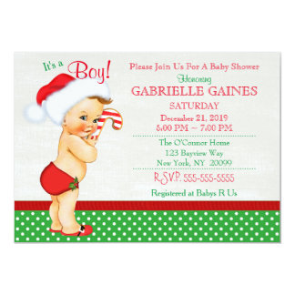 Weihnachtsjungen-Baby-Duschen-Einladung Karte
