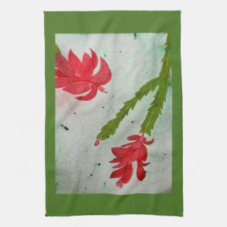 Weihnachtskaktuss-Aquarell Handtuch