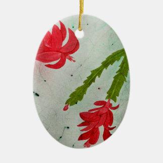 Weihnachtskaktuss-Aquarell Ovales Keramik Ornament