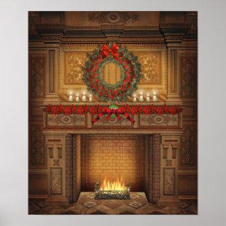 Weihnachtskamin-Plakat Poster