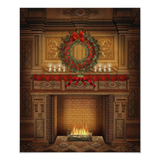Weihnachtskamin-Plakat