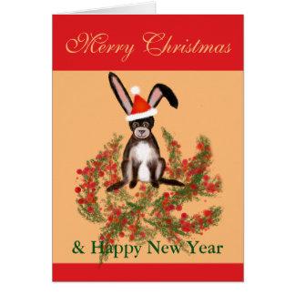 Weihnachtskaninchen Mitteilungskarte