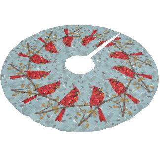 WeihnachtsKardinals-Vogelcollage Polyester Weihnachtsbaumdecke
