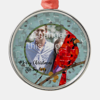 WeihnachtsKardinals-Vogelcollage Silbernes Ornament
