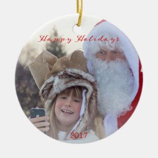 Weihnachtskarierte glückliche keramik ornament