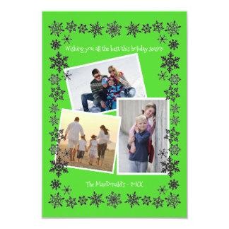 Weihnachtskarte des Schneeflocke-Rahmen-Grün-3 der 8,9 X 12,7 Cm Einladungskarte
