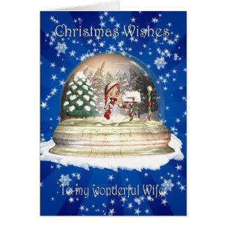 Weihnachtskarte, Ehefrau-Weihnachten, Elf in einem Karte