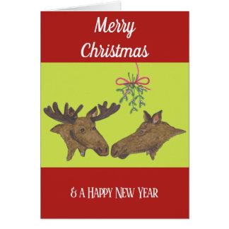 Weihnachtskarte Elch-Paare und Mistelzweig Karte