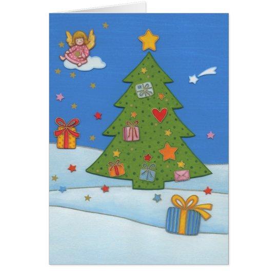 Weihnachtskarte Engel auf Wolke Karte