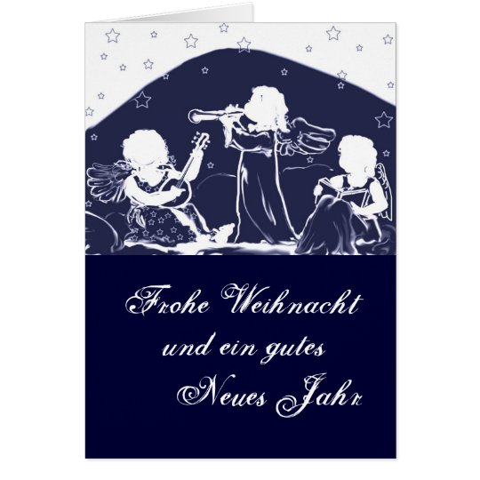 Weihnachtskarte: Engel musizieren blau Karte