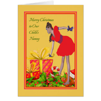 Weihnachtskarte für Kindermädchen Karte