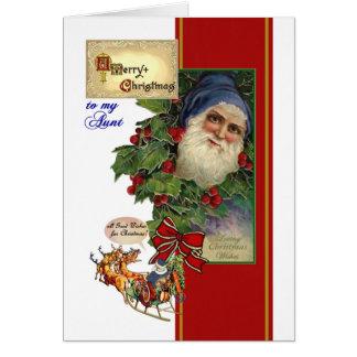 Weihnachtskarte für Tante - Vintage Sankt, Sleigh Karte