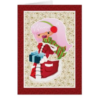 Weihnachtskarte mit rosa behaartem Mädchen Grußkarten