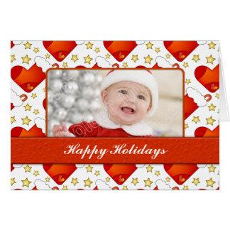 Weihnachtskarte mit Strümpfen und Sternen Karte