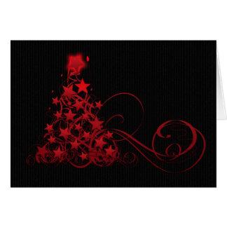Weihnachtskarte mit Wirblem Baum und Sternen Karte