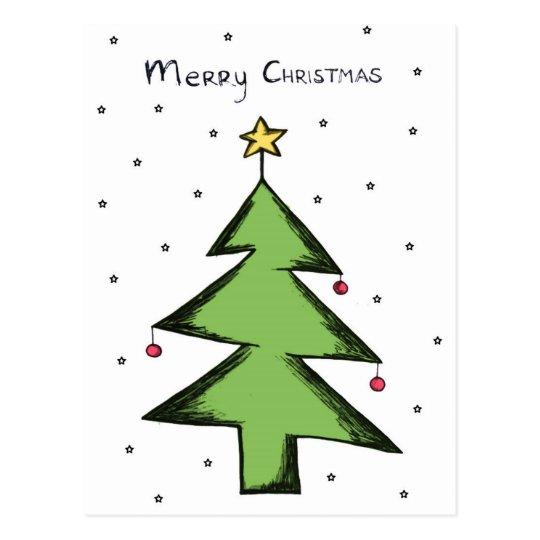 Weihnachtskarte, Postkarte Weihnachten, Tannenbaum