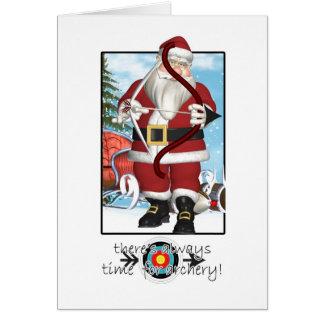 Weihnachtskarte, Sankt, die Bogenschießen spielt Karte