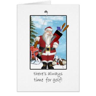 Weihnachtskarte, Sankt, die Golf spielt Karte