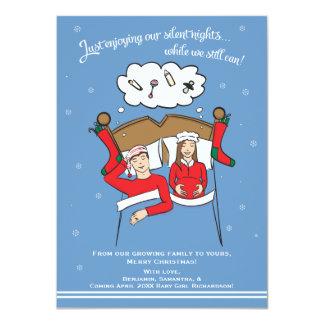 Weihnachtskarten-Schwangerschafts-Karte brünettes 11,4 X 15,9 Cm Einladungskarte
