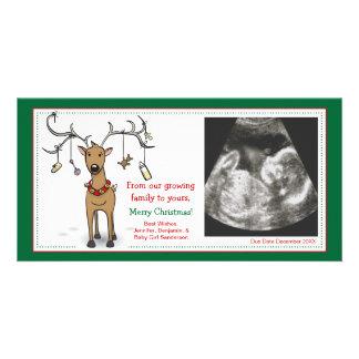 Weihnachtskarten-Schwangerschafts-Mitteilungs-Ren Individuelle Foto Karte