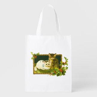Weihnachtskätzchen-frohe Weihnacht-Doppeltes Wiederverwendbare Einkaufstasche