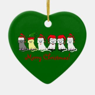 WeihnachtsKätzchen in einer Keramik Herz-Ornament